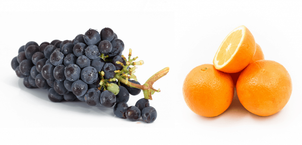grape and orange fruit